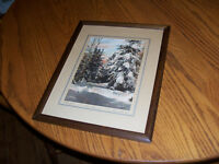"Antique Hand Pianted Photograph ""Winter Near Truro"" 12 by 15 Thi"