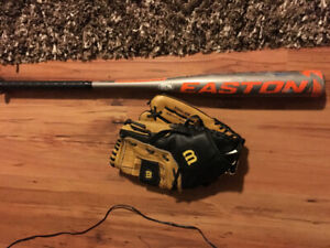 Baseball/Softball glove and Easton Bat