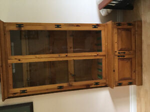 Cabinet light wood glass doors & Antique cheery wood cabinet
