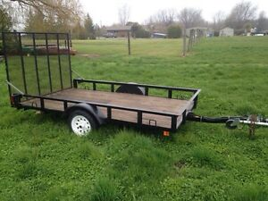 5x9 trailer with plywood + rails + tounge jack + 6ft tailgate