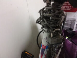 Bike chain with lock and helmet