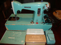 White Sewing Machine with Case Mint Green