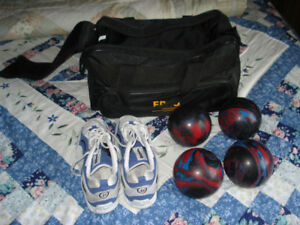 Bowling shoes and balls