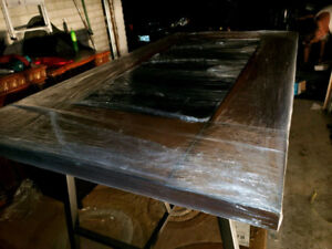 DINING TABLE with WOOD AND GLASS TOP - in plastic - fr THE BRICK