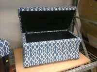 Blue and White Hourglass  Ottoman