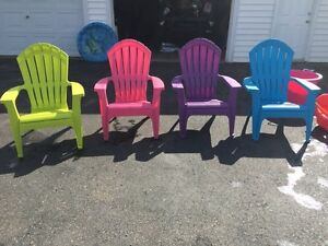 Four colored chairs
