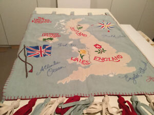 Vintage Hand Embroidered UK Map Wall Hanging