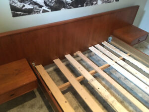 Rare MCM Teak Double Bed w/ Floating Side Tables SEE VIDEO