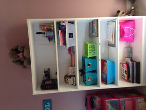 Kids white dresser and book shelf for sale.  Used by one child.