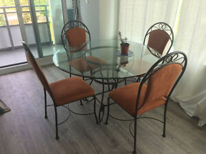 Glass Top Dinner Table W Wrought Iron Stand And 4 Chairs