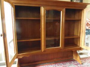 Cherry Wood Solid Glass Front 2 Shelf 4' wide Dining Hutch MINT!