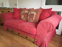 Red 2+3 seater sofas £50