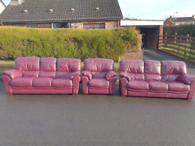 3+3+1 oxblood leather sofa