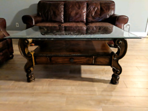 Leather couch recliner and coffee table OBO