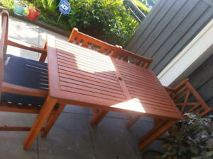 Patio table, 4 chairs, bench, and pillow and cushions