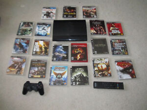 PS3 with Controller, Bluetooth Remote and 19 Games