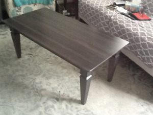 Solid wood brown coffee table and end table