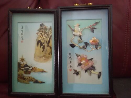 Set of 2 Vtg Asian Mother of Pearl Carved Shell Shadow Box Art 3D Framed