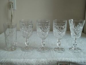 to add to your collection...5 assorted pinwheel crystal glasses