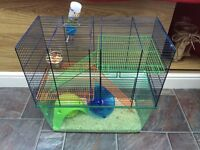 Large multi height hamster cage and accessories