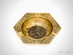 Vintage Handmade Brass 'FLORAL' Korean Pub/Bar/Tavern Ashtray