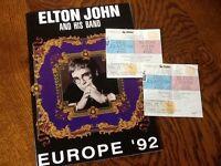ELTON JOHN CONCERT PROGRAMME AND TICKETS 1992