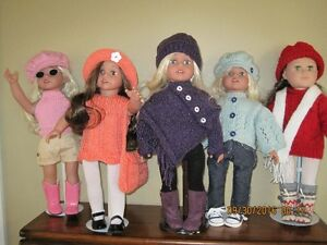 "Handknit colthes for 18"" dolls"