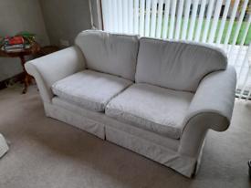 Cream / white Laura Ashley 2 seater sofa settee & armchair