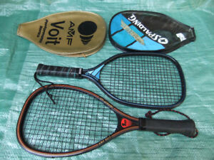 AMF VOIT Impact and Spalding Racquetball Racquets with cases