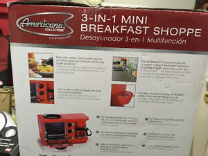 New three in one breakfast centre. Coffee maker four cup griddle