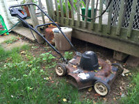 Electric lawnmower + edge trimmer/ weed-wacker + extension cord