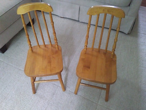 2 children's solid hardwood chairs