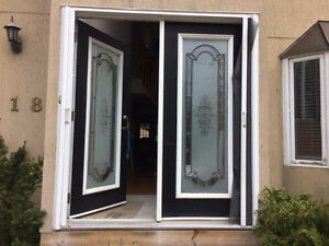 Exterior Thermal front doors frosted glass aluminum leaded