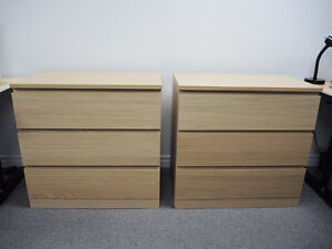 2 Ikea MALM 3 Drawer Chests White Stained Oak Veneer - MINT