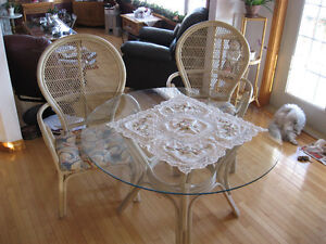 Rattan Table with glass top and 4 Chairs