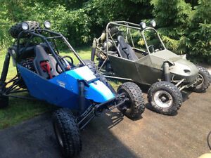 2 High performance dune buggies and enclosed trailer.