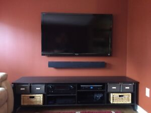 High End Soundbar, Subwoofer with Denon Receiver and Media Stand