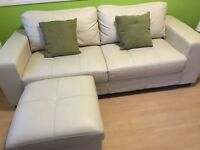 Cream Leather 3 Seat Sofa, Chair and Footrest