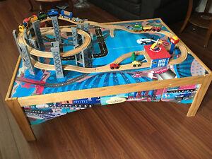 Table Imaginarium avec les trains en bois