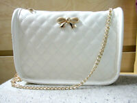 Small Bow Quilted-pattern White Crossbody Bag, Gold Chain