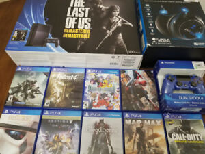 New PS4 500GB, 2 Controllers, PX51 Headset, 10 Games (Spiderman)