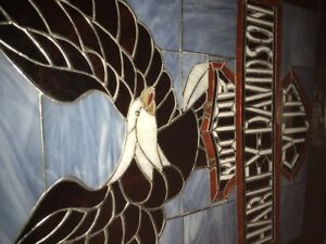 harley davidson stained glass