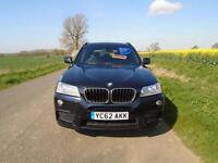 2012/62 BMW X3 2.0 20D M SPORT XDRIVE AUTOMATIC 5DR BLACK + HUGE SPEC + MUST SEE