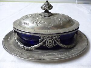 Silver Plated Beautiful Cobalt Blue Glass Serving Dish