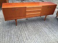 Vintage retro large wooden mid century teak sideboard credenza tv cabinet