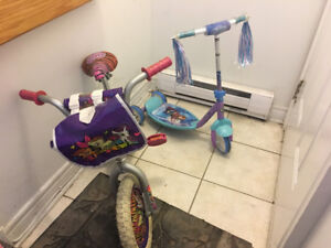 Bike and frozen scooter for kids