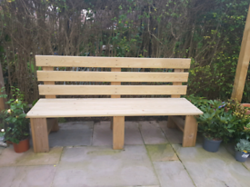 Wooden garden bench 3 seater hand made to order this one is 180 cm Tre