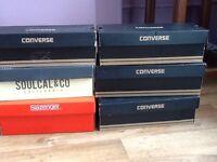 6 empty shoe boxes.