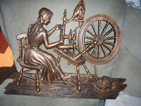 COPPERCRAFT LADY AT SPINNING WHEEL