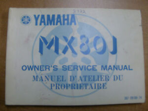 1982 YAMAHA MX80 OWNERS MANUAL Cambridge Kitchener Area image 1